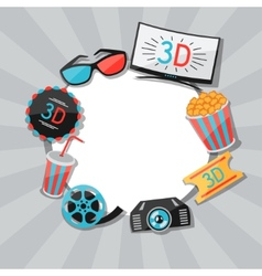 Background of movie elements and cinema icons vector