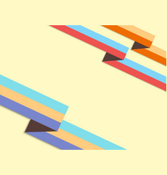 background with retro style origami ribbons and vector image