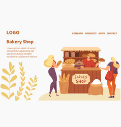 bakery shop sale baking house website people vector image