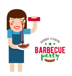barbecue party cartoon people vector image