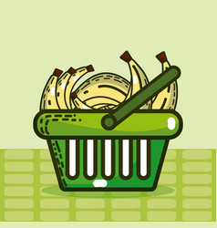 Basket with bananas super market products vector