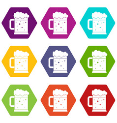 beer mug icon set color hexahedron vector image