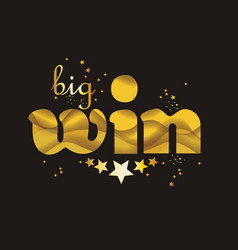 Big win gold sign for online casino poker vector