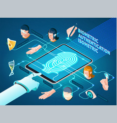 Biometric authentication methods isometric vector