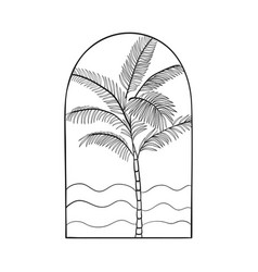 Bohemian modern arch logo design palm waves vector