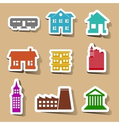 Building icons set on color stickers vector image