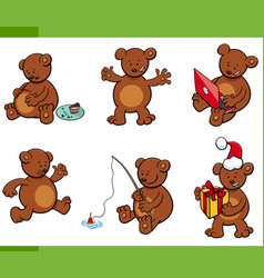cartoon bear animal characters set vector image
