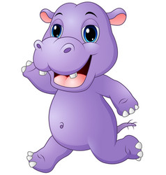 cartoon hippo running vector image