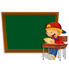 Chalkboard banner with boy vector
