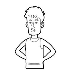 Character man tousled leisure line vector