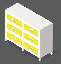 chest drawers isolated on white image vector image