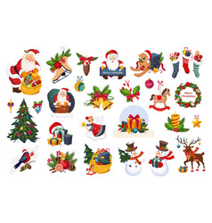 christmas big set new year holiday decoration vector image