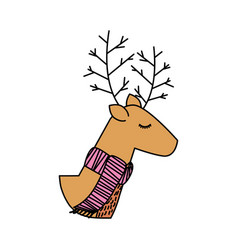 christmas reindeer scarf animal horned funny vector image