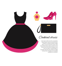 Cocktail dress colorful banner vector