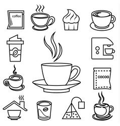 coffee outline icon set with accessories and vector image