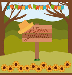 Colorful poster festa junina in wooden fence with vector