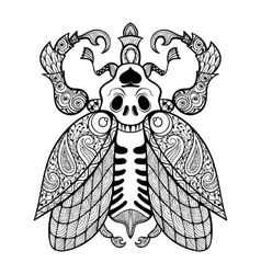 coloring page of bug with skull entangle vector image