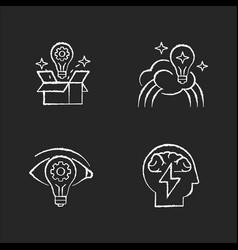 Creative mindset chalk white icons set on black vector