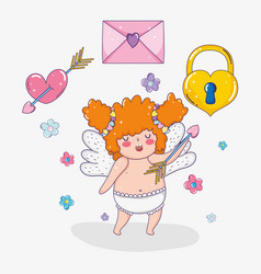 cupid with arrow and love card with heart padlock vector image