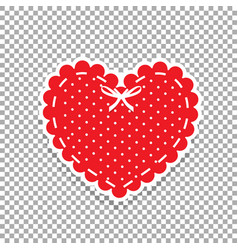 Cute red lacy heart with white polka dots pattern vector