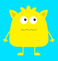 cute yellow monster icon happy halloween cartoon vector image