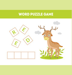 deer word puzzle game educational game vector image