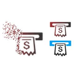 Dispersed pixel halftone receipt terminal icon vector