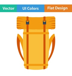 Flat design icon of camping backpack vector image