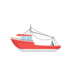 Flat design of bright red fishing boat big vector