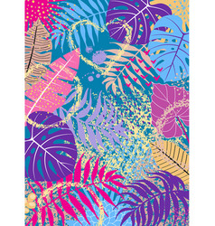 floral background with vivid tropical leaves vector image