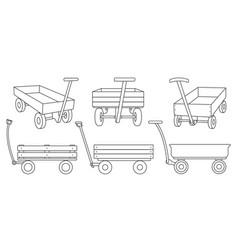 Garden cart line on white vector