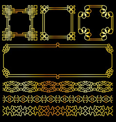 Golden asian retro frames and borders set vector