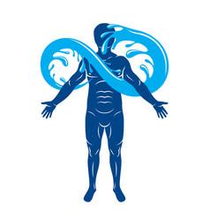 Graphic muscular human mystic poseidon vector
