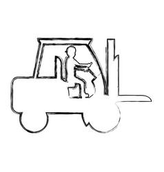 Grunge pictograph laborer with forklift equipment vector