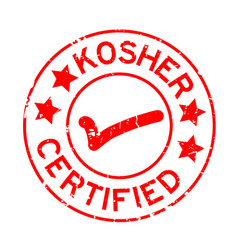 Grunge red kosher certified word with mark icon vector