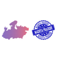 Halftone gradient map of madhya pradesh state and vector