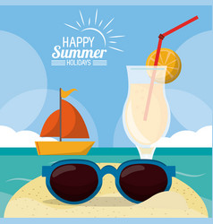 Happy summer holidays poster beach ship cocktail vector
