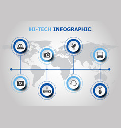 infographic design with hi-tech icons vector image