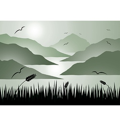 Island view with grass vector image