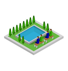 Isometric pool on a white background vector