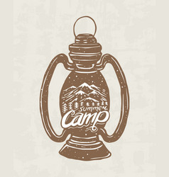 kerosene lamp or candle or flashlight camping vector image