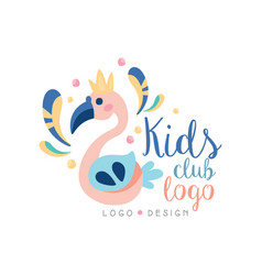 Kids club logo design emblem with cute flamingo vector