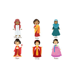 kids in traditional costumes set saudi arabia vector image