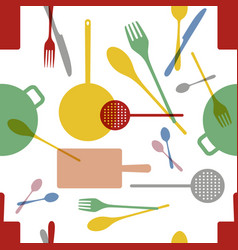 kitchenware pattern seamless vector image