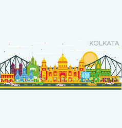 Kolkata skyline with color landmarks and blue sky vector