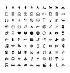 large set of universal different simple black vector image