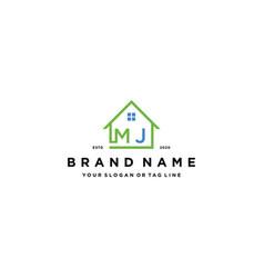 Letter mj home logo design vector