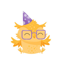 lovely orange owlet in glasses and party hat cute vector image