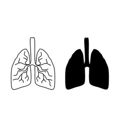lung icons on white background vector image