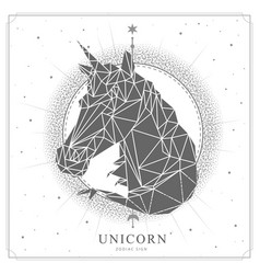 Magic witchcraft card with unicorn zodiac sign vector